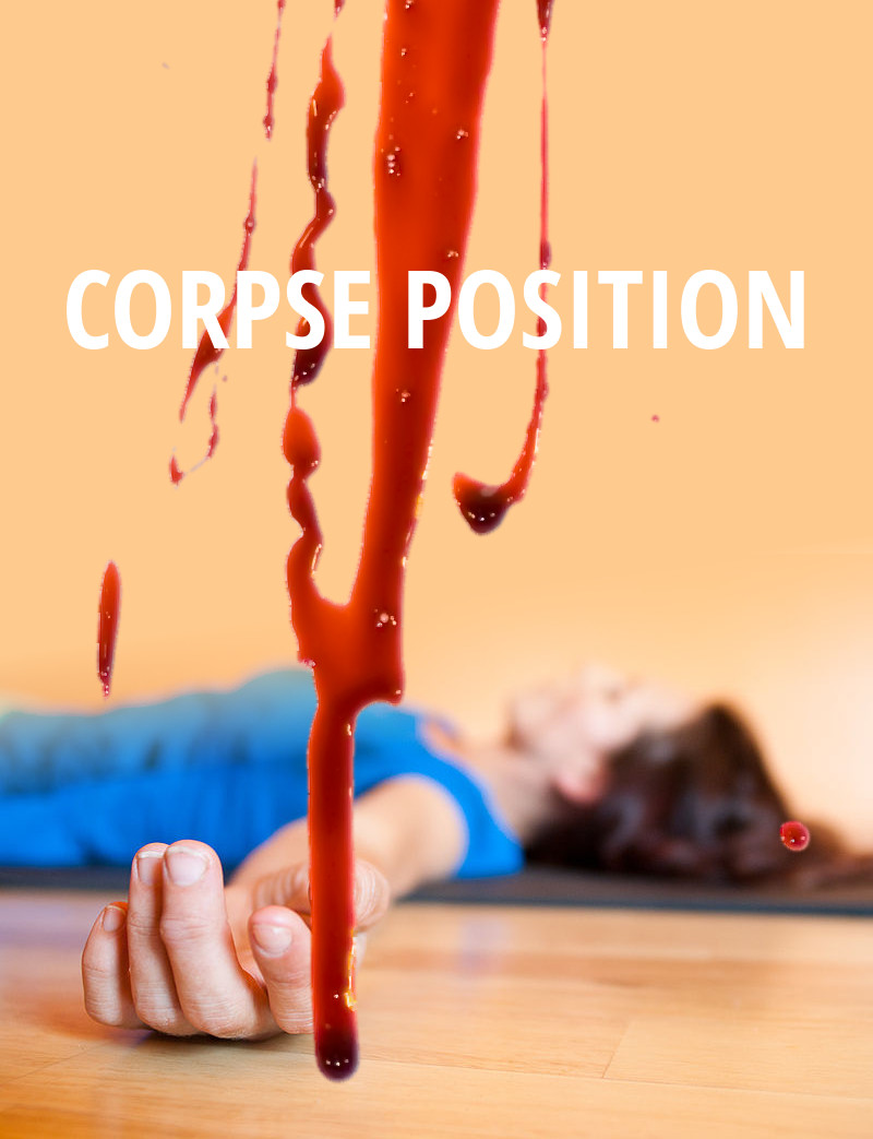 A photograph of a person wearing a blue top lying in corpse position in a peach-coloured room. Their hand is near the camera, while the rest of their body is further away and out of focus. Blood trails down the image as if running down a windowpane. The title, CORPSE POSITION, is in white text.
